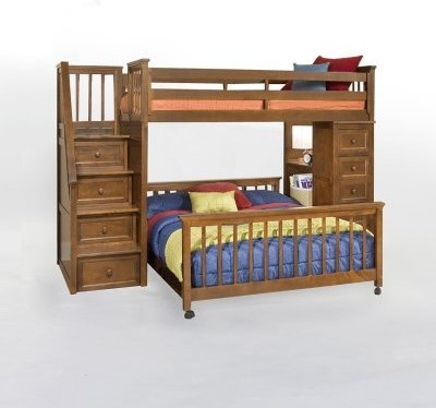 School House Stair Loft with Chest End - Pecan modern-kids-beds