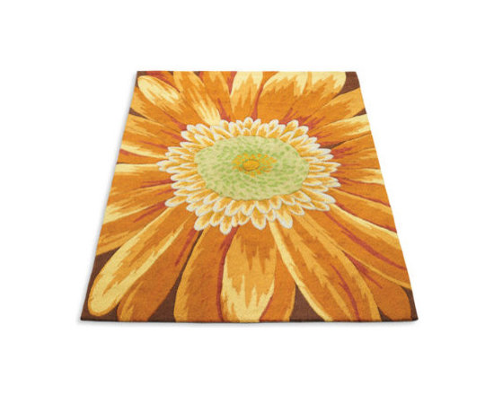 Grandin Road - Sunflower Indoor Rug - Exceptional hand-hooked construction. Crafted from vibrant, high-density polyacrylic yarns. Brilliant sunflower pattern is highly noticeable in any room. Extend the life of your rug with a Nonslip Rug Grip (sold separately). Our Sunflower Indoor Rug brightens any room with scintillating shades of gold, pumpkin, and paprika. Expert craftsmen hand-hooked this indoor rug from vibrant, high-density polyacrylic yarns to make it sumptuous yet resilient underfoot.  .  .  .  . Imported.