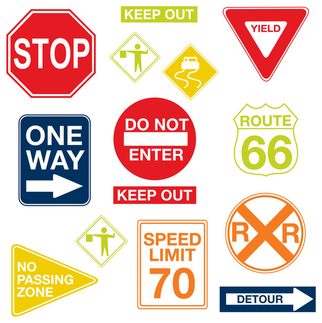 Road Signs Wall Decals Contemporary Kids Decor