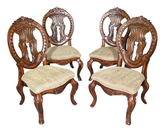 MBW Furniture - Set 4 Solid Mahogany Round Back Carved Tan Dining Side Chairs - This is a beautiful set of 4 solid mahogany tan dining side chairs. They have solid mahogany wood frames that feature gorgeous carved and pierced backs that are richly adorned with fancy fretwork and foliage and scroll accents, and they have distinguished cabriole legs with acanthus leaves and scrolls. The seats are very comfortable and they have beautiful textured tan fabric. These chairs are showroom models and may have some minor imperfections but as shown they are overall in very good condition. They are shipped assembled.