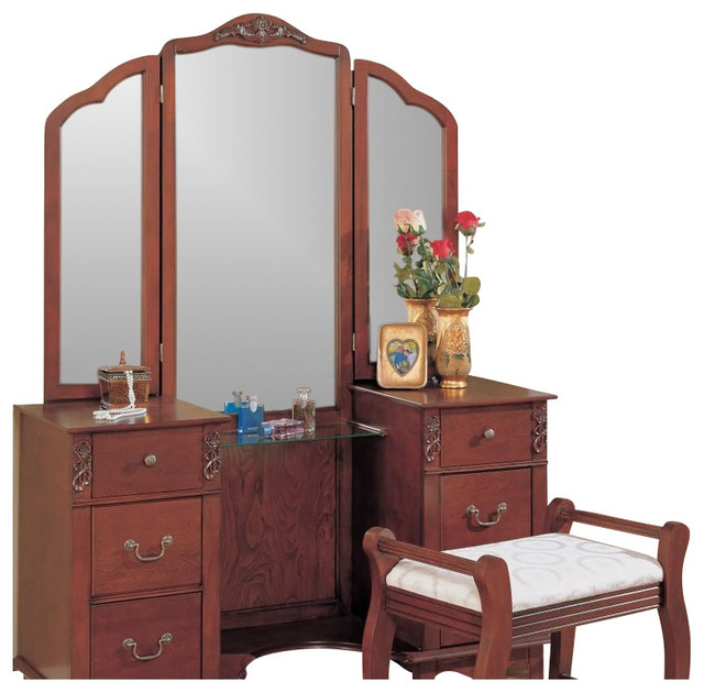 Coaster Traditional Wood Makeup Vanity Table Set With Mirror Traditional