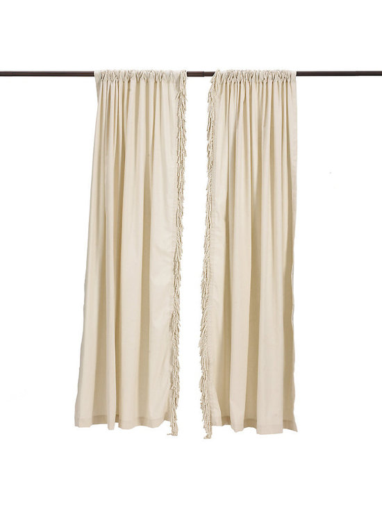 "Ballard Designs - Bullion Fringe Panel - 5 1/2"" natural bullion fringe. 3"" rod pocket. Dry clean. Make any room in your home feel like a cozy cottage getaway with our Bullion fringe panel. The panel gently filters sunlight, while the  adds a touch of playful comfort. Includes a .  only.Bullion Fringe Panels feature:. . ."