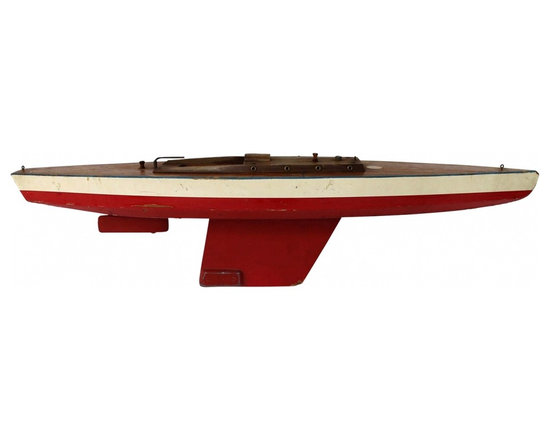 Sailboat Model - 1940s or 50s commercially made pond sailer in all American color scheme, found on Seventh Lake in the Adirondacks.