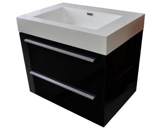 "27"" Wall Mounted Modern Bathroom Vanity in High Gloss Black -"
