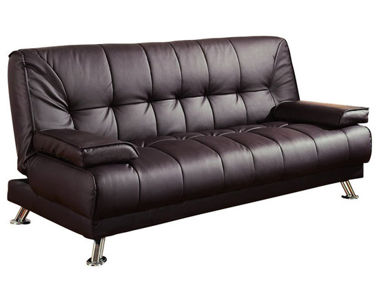 "Coaster - Coaster Furniture Brown Vinyl Match Convertible Sofa - Coaster - Convertible Sofas - 300148 - This Convertible Sofa is perfect for any contemporary living space. It not only has a modern metal and leather-styled vinyl look but also converts into a comfortable 77"" x 47"" bed. It has all the convenience of a sofa bed with a contemporary style unmatched by most convertible couches."