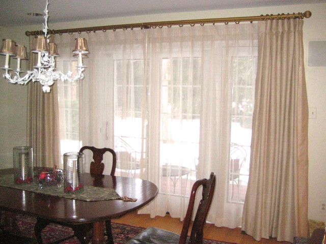 Pleated Curtains For Curtain Box : Box Pleated Drapery Panels over Sheer Draperies transitional-curtains