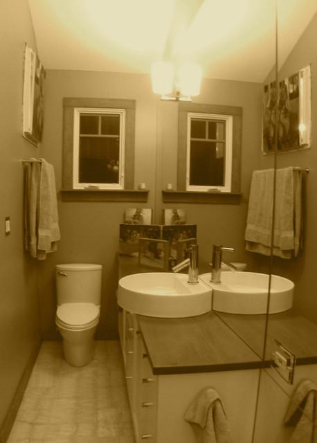 Small half bath contemporary bathroom
