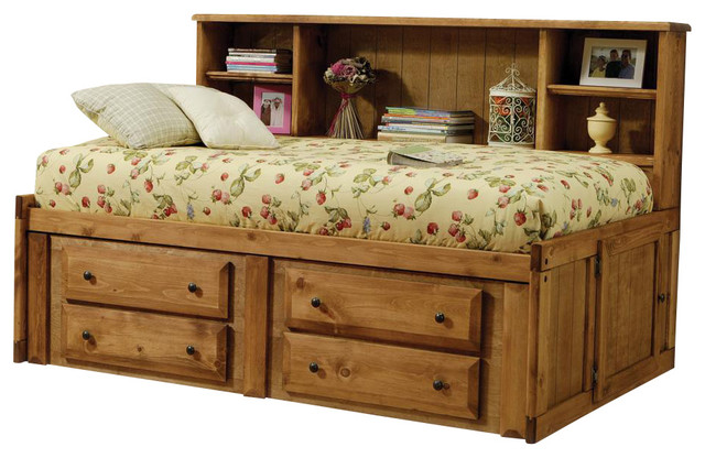 Amber Solid Wood Twin Bookcase Headboard Bed w/ Under-Bed Storage Drawer - Transitional - Kids Beds