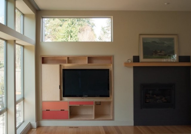 built in av cabinet modern living room seattle by