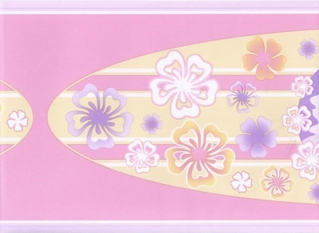 Purple Pink Hawaiian Surf Board Wallpaper Border traditional-wallpaper