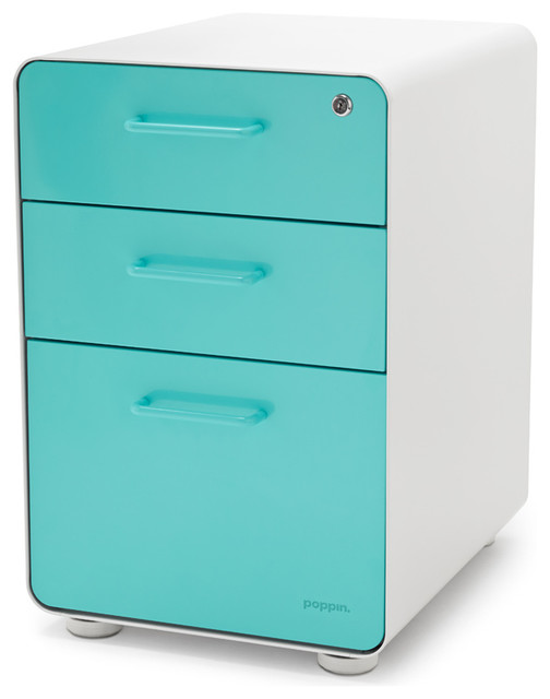 West 18th File Cabinet, White/Aqua - Modern - Filing Cabinets - by Poppin