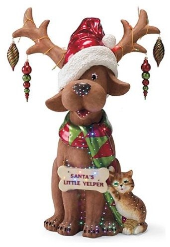 Santa 39 s little yelper reindog figure outdoor christmas Traditional outdoor christmas decorations