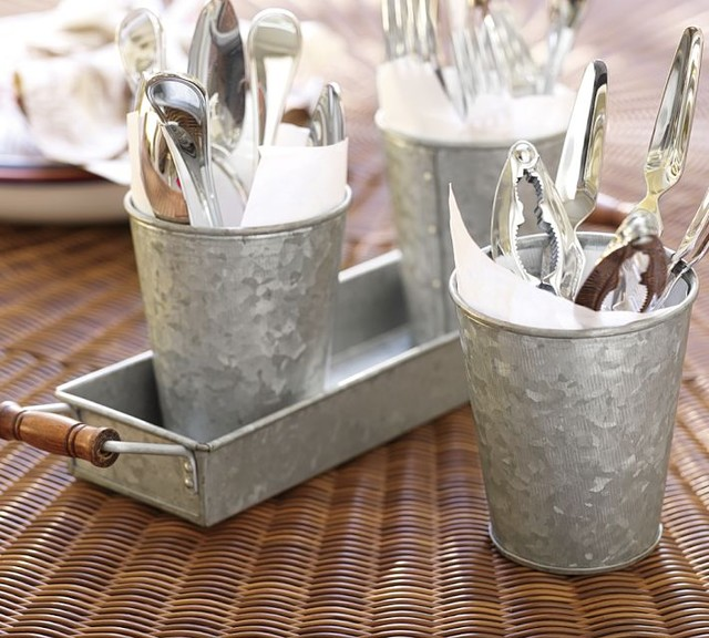 Galvanized Metal Condiment & Tray Set contemporary-serving-dishes-and-platters