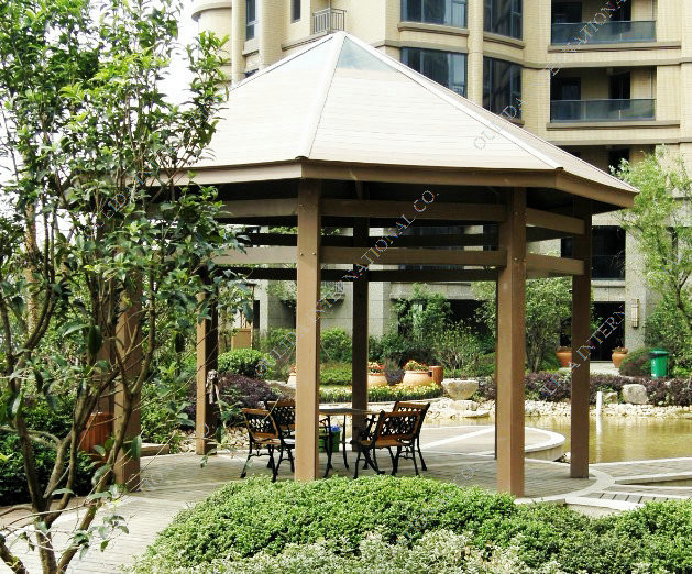 Eco-friendly WPC Outdoor Octagon pavilion/gazebo OLDA-6008  20ft.*20ft.*16ft. tropical-gazebos