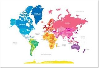 English Muffin Bright World Map  Modern  Kids Decor