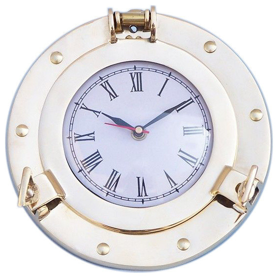 "Brass Porthole Clock 8"" Maritime Clocks Beach Home Decorating Ideas - New clocks"