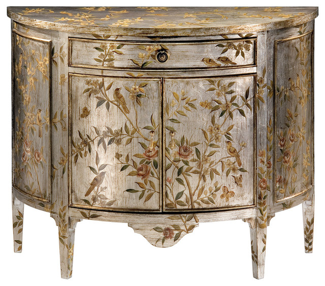 Hand-Painted Demilune Cabinet - Contemporary - Accent Chests And Cabinets - by Inviting Home Inc