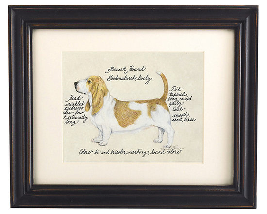 Ballard Designs - Basset Hound Dog Print - Our Basset Hound Dog Print was created by the dog-loving, husband and wife team of Vivienne and Sponge. The Basset Hound is known for being good-natured and lively. Each Basset Hound portrait is hand colored and embellished with notes on the breed's special characteristics. Printed on antiqued parchment, signed by the artists and framed in antique black wood with eggshell mat and glass front. Basset Hound Dog Print features:Hand colored & signed . Printed on parchment. Eggshell mat. Antique black frame