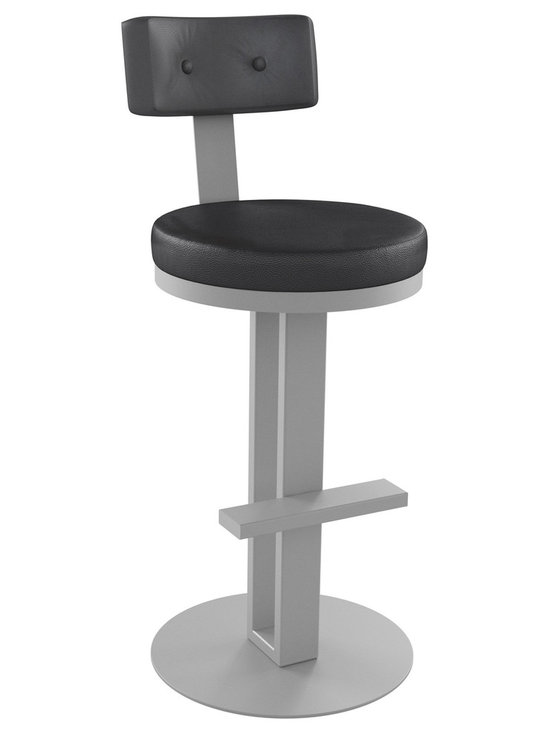 "Amisco - Empire Swivel Stool, 30"" Bar Height Seat - The Empire Swivel Stool in black vinyl cushion with silver powder-coated metal finish. Built to last with a 10 year Manufacturers warranty, your good to go with this stylish bar stool in your new kitchen or bar room decor."