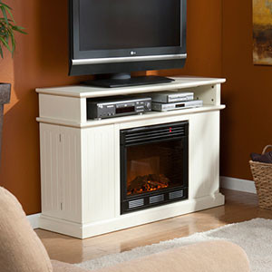 Fenton Electric Fireplace Media Cabinet in Ivory - 37-100-084-6-18 beach-style-indoor-fireplaces