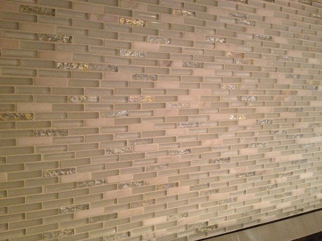 Glass & Marble Backsplash modern kitchen tile