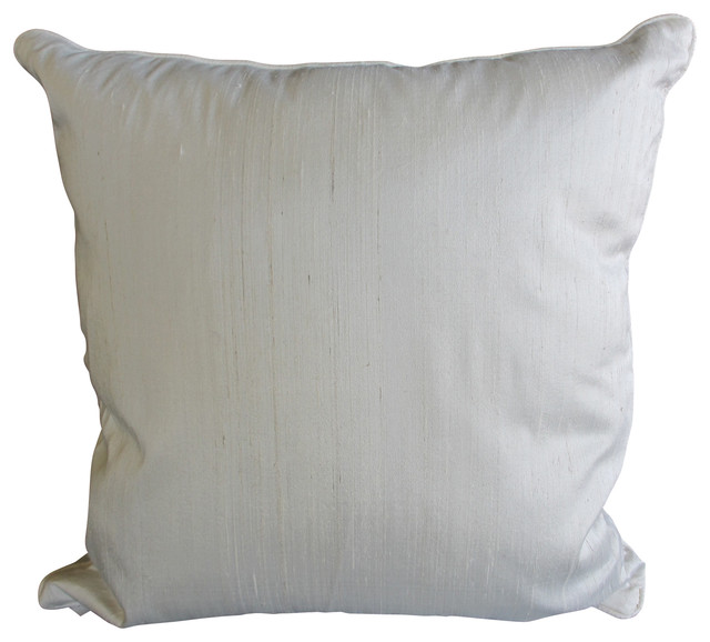 Large Silver Throw Pillow : White Silk Large Square Pillow - Contemporary - Decorative Pillows - by Garden Candy