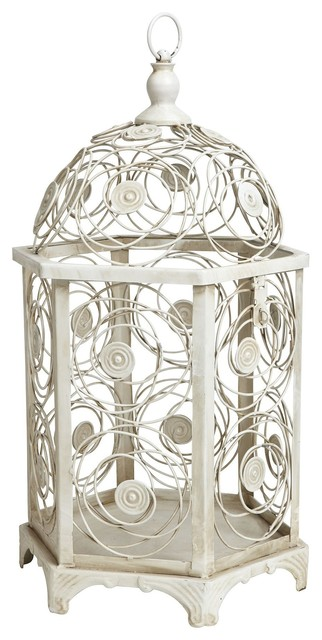Decorative hanging bird cage white contemporary for Decorative birds for outside