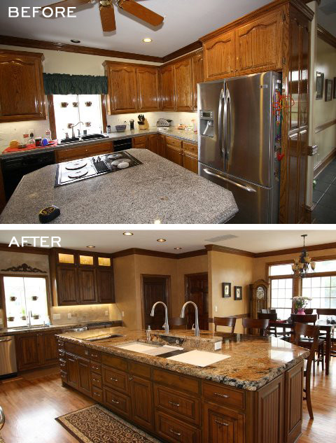 Before after kitchen with a galley sink for Galley kitchen sink