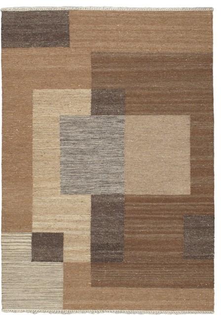 "Flat-weave Lahor Finest Light Brown Wool Kilim 4'7"" x 6'7"" modern-rugs"