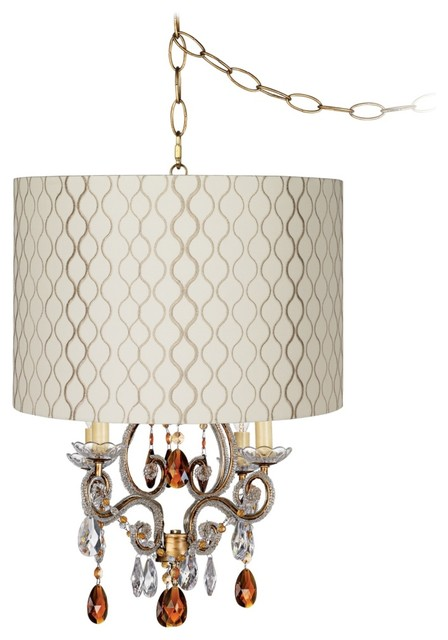 Traditional Leila Gold Embroidered Shade Plug-In Swag Chandelier traditional-chandeliers