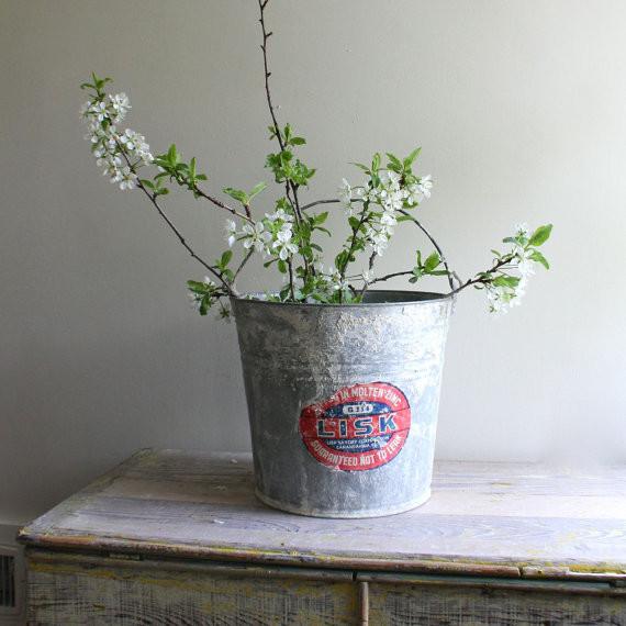 Vintage Industrial Mop Bucket eclectic-vases