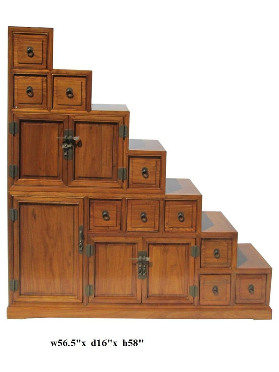 Oriental Japanese Style Step Tansu Cabinet - This is a Japanese style step Tansu cabinet with natural wood brown stain color. It is combination of two pieces, top is the triangle with 4 drawers and shelf, the bottom has a flat top and six drawers. They can be used separately. Two sides access.