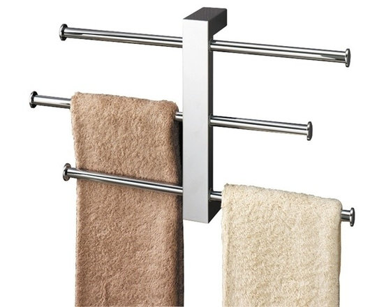 Gedy - Polished Chrome Towel Rack With 3 Sliding Rails - Hold your entire family's towels on this attractive brass towel rack. You can slide the three 16-inch towel bars all the way out to hold three large towels or place them in the middle to hold smaller towels.