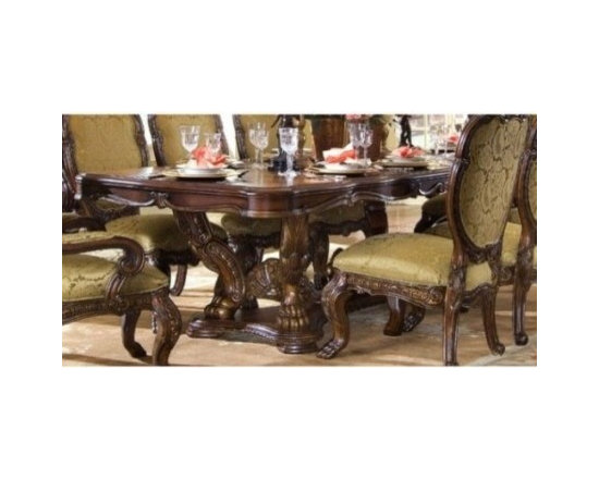 AICO Furniture - Chateau Beauvais Rectangular Dining Table in Noble Bark - 75002 - Set Includes Dining Table Base and Top