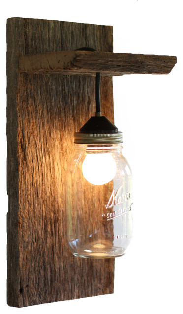 Rustic Wall Lamps Sconces : Barn Wood Mason Jar Light Fixture, Without Rope Detail - Rustic - Wall Sconces - by Grindstone ...
