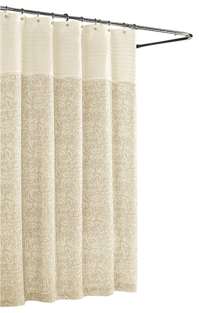 Aurelia Scroll Shower Curtain Cream Traditional Shower Curtains By Luxor Linens