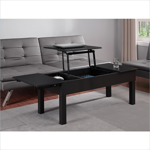 Parsons Lift Top Coffee Table In Black Contemporary Coffee Tables