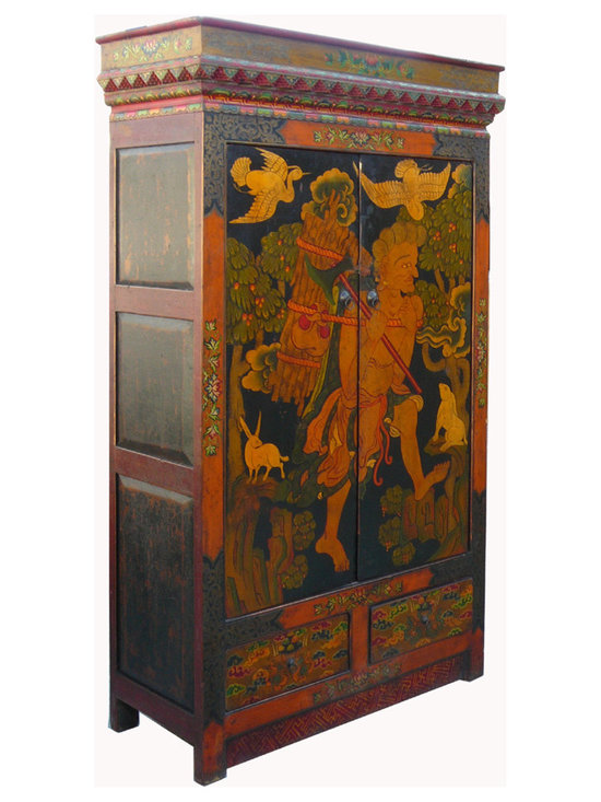 Vintage Tibetan Lama Meditation Scenery Armoire Cabinet - This is a meaningful Tibetan cabinet with nice hand painted scenery of a Buddhism study person living in the forest. There are animals gathering around him as he is logging. It shows the peaceful and the truthful of the road to reach the Buddha in Tibetan Buddhism. We earn the credit of meditation through our daily life.