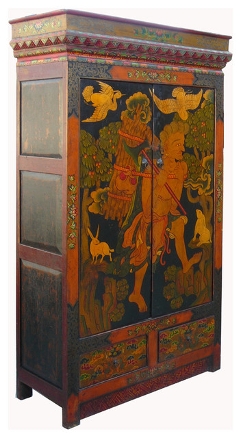 Vintage Tibetan Lama Meditation Scenery Armoire Cabinet ...