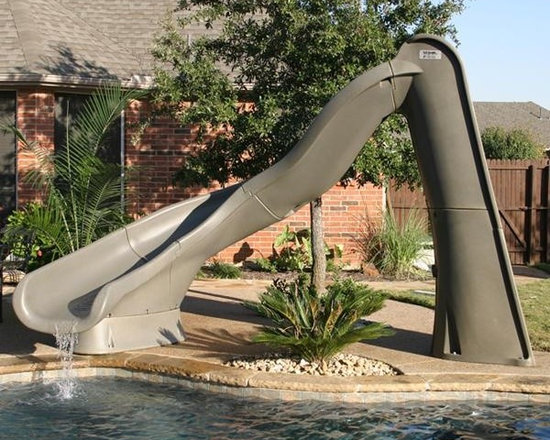 S.R. Smith TurboTwister Right Curve Pool Slide in Gray Granite - -Height: 8 ft 7 inches to top of handrails