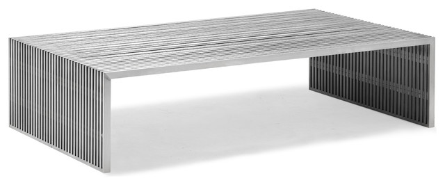 Slatted Steel Long Coffee Table modern-coffee-tables
