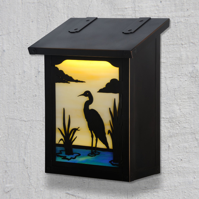 Wall Decor Mailbox : Blue heron vertical wall mounted mailbox traditional