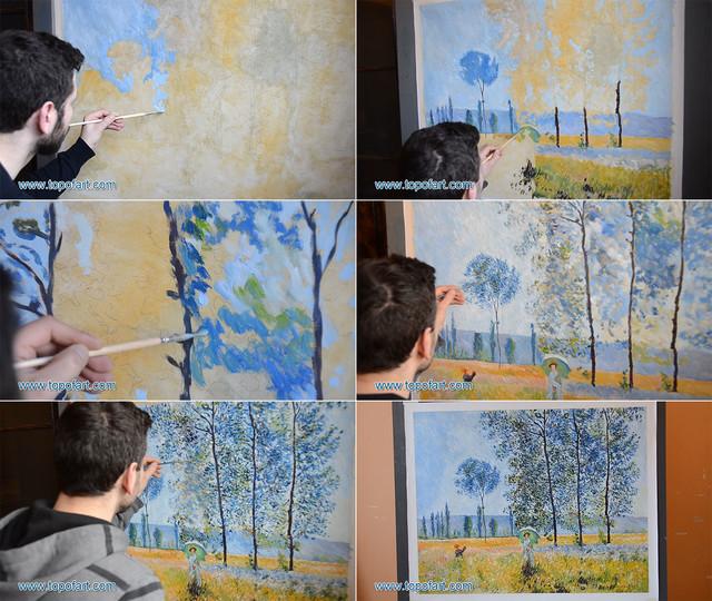 Under the Poplars, Sunlight Effect | Monet | Painting Reproduction artwork