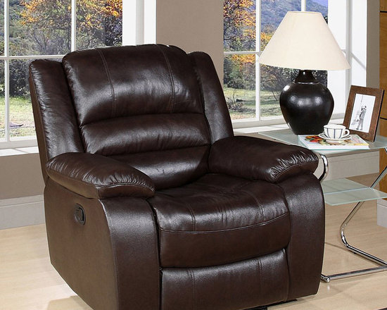 Abbyson Living - Ashlyn Collection Top Grain Italian Dark Brown Leather Recliner -