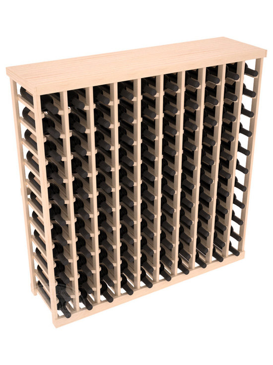 Wine Racks America® - Commercial Wine Rack RetailEDGE™ Standard Base with Solid Top, Oak Stain - The Standard Base with the solid top option holds up to 110 bottles. These racks are made to secure and safely store each bottle while providing adequate breathing room. With this solid Ponderosa pine top option, 13 beautiful stain & finish combination choices, these racks will be sure to shine in your wine retail setting. The solid top increases storage space for holding more bottles, cases, or sale advertisements. Additional tops are also available and can be interchanged with ease. Increase your bottom line today with RetailEDGE Series ™.