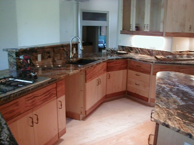 Western maple and monkey wood contemporary kitchen Western kitchen cabinets