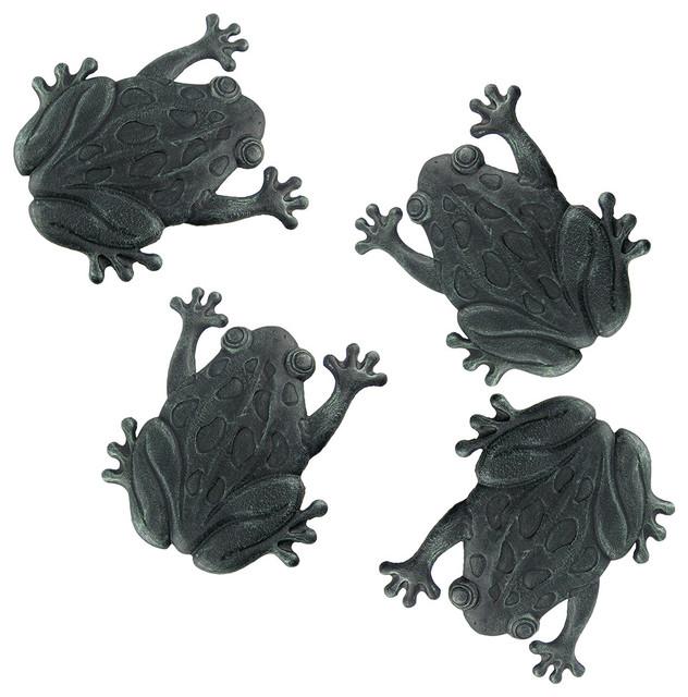 Set Of 4 Verdigris Cast Iron Frog Garden Stepping Stones