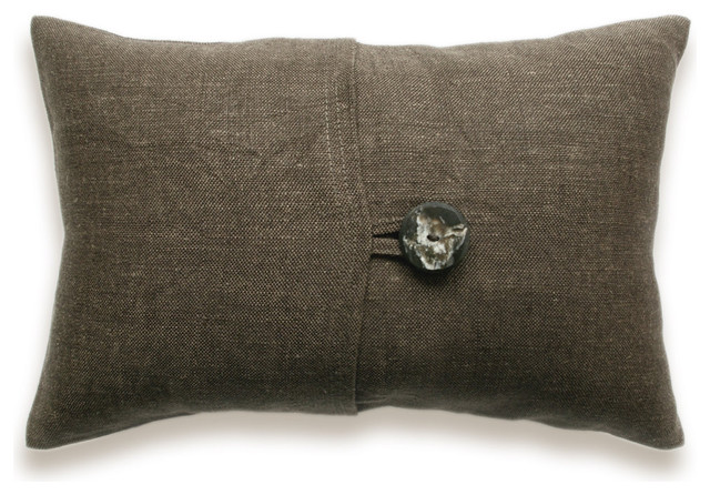 Textured Brown Linen Lumbar Pillow Cover 12x18 inch Faux Horn Button DREA DESIGN