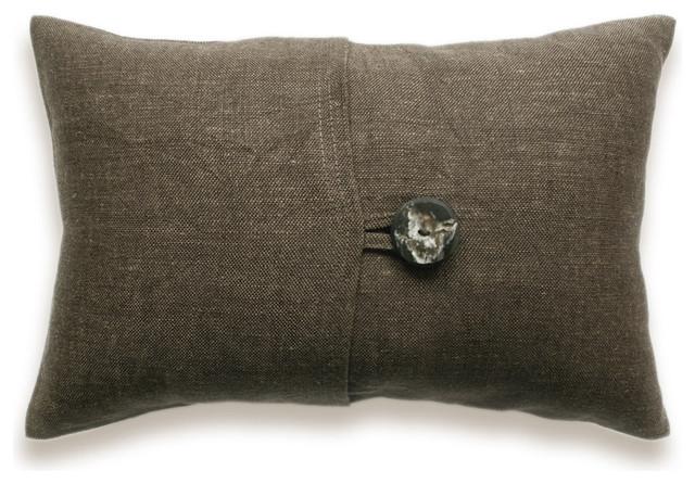Textured Brown Linen Lumbar Pillow Cover 12x18 inch Faux Horn Button DREA DESIGN mediterranean-pillows