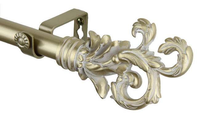 rod desyne home decorative plume curtain rod 48 84 inch light gold